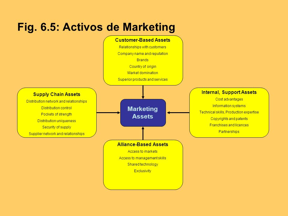 Fig. 6.5: Activos de Marketing Customer-Based Assets Relationships with customers Company name and reputation Brands Country of origin Market dominati