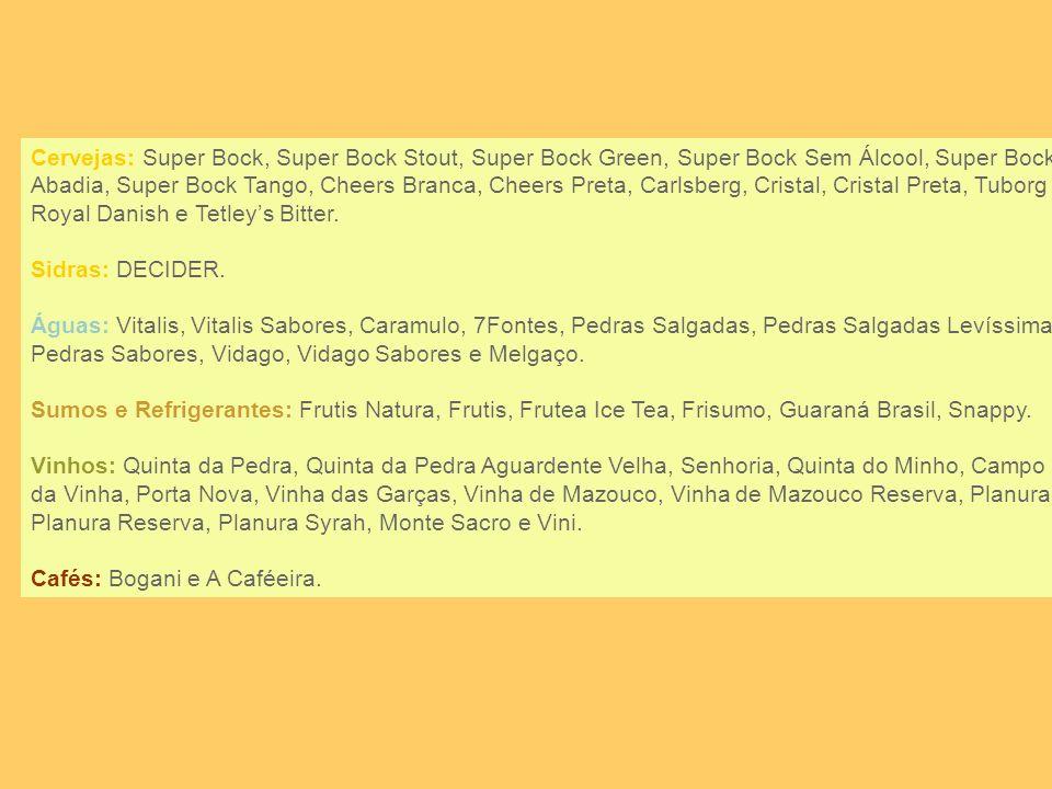 Marcas da Unicer as nossas marcas Cervejas: Super Bock, Super Bock Stout, Super Bock Green, Super Bock Sem Álcool, Super Bock Abadia, Super Bock Tango, Cheers Branca, Cheers Preta, Carlsberg, Cristal, Cristal Preta, Tuborg Royal Danish e Tetleys Bitter.