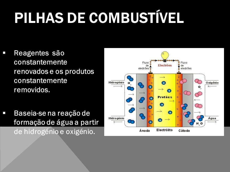 PILHAS DE COMBUSTÍVEL Reagentes são constantemente renovados e os produtos constantemente removidos. Baseia-se na reação de formação de água a partir