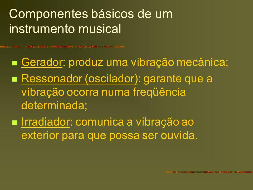 Componentes básicos de um instrumento musical Gerador: produz uma vibração mecânica; Ressonador (oscilador): garante que a vibração ocorra numa freqüê