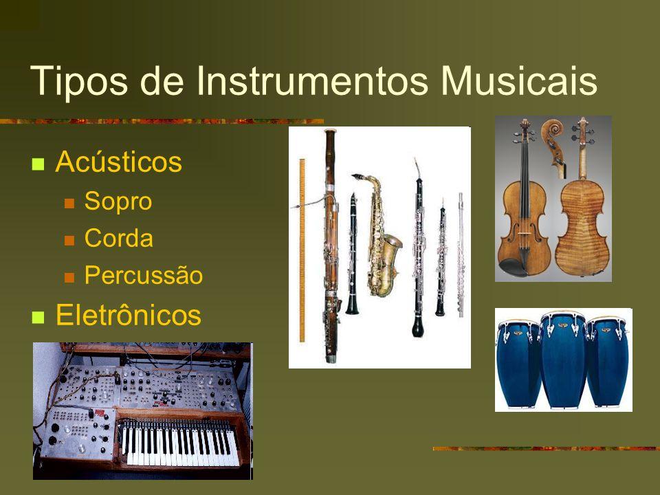 Tipos de Instrumentos Musicais Acústicos Sopro Corda Percussão Eletrônicos