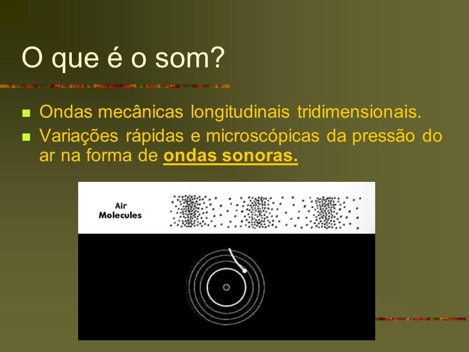 O que é o som? Ondas mecânicas longitudinais tridimensionais. Variações rápidas e microscópicas da pressão do ar na forma de ondas sonoras.