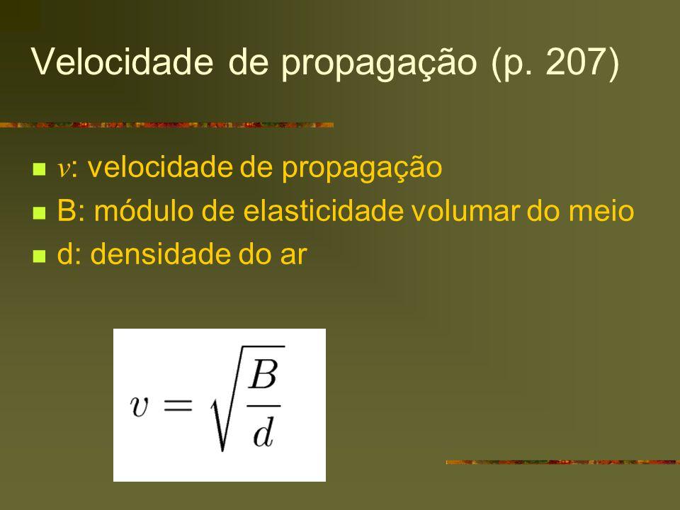 Velocidade de propagação (p. 207) v : velocidade de propagação B: módulo de elasticidade volumar do meio d: densidade do ar