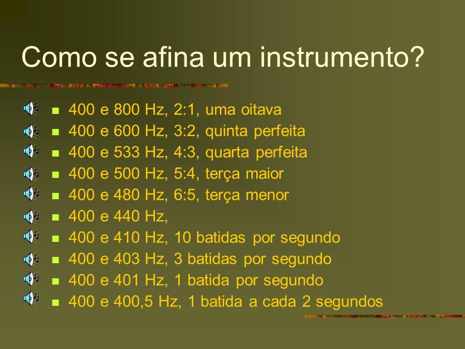 Como se afina um instrumento? 400 e 800 Hz, 2:1, uma oitava 400 e 600 Hz, 3:2, quinta perfeita 400 e 533 Hz, 4:3, quarta perfeita 400 e 500 Hz, 5:4, t