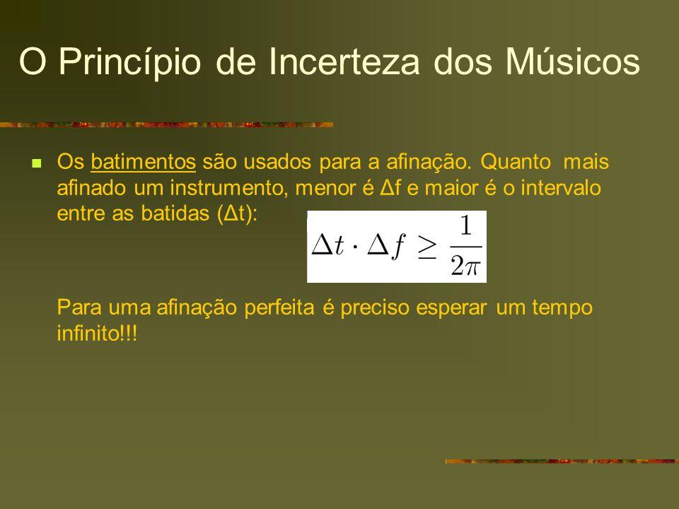 O Princípio de Incerteza dos Músicos Os batimentos são usados para a afinação. Quanto mais afinado um instrumento, menor é Δf e maior é o intervalo en