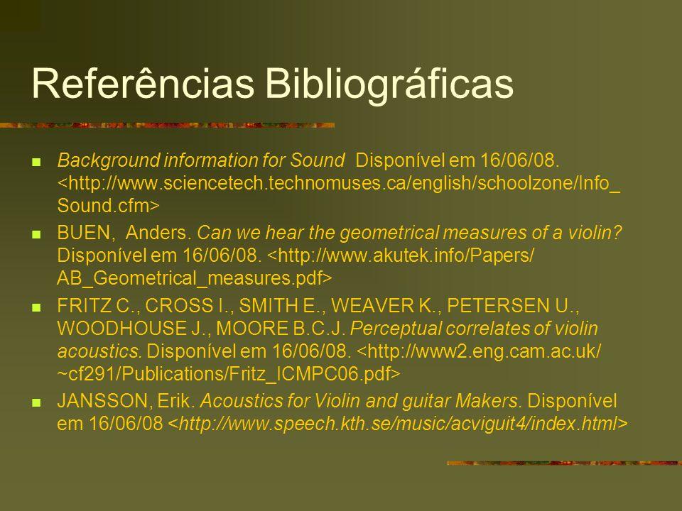 Referências Bibliográficas Background information for Sound Disponível em 16/06/08. BUEN, Anders. Can we hear the geometrical measures of a violin? Di