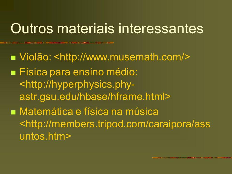 Outros materiais interessantes Violão: Física para ensino médio: Matemática e física na música