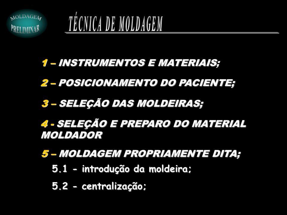3 – SELEÇÃO DAS MOLDEIRAS; 5 – MOLDAGEM PROPRIAMENTE DITA; 2 – POSICIONAMENTO DO PACIENTE; 1 – INSTRUMENTOS E MATERIAIS 1 – INSTRUMENTOS E MATERIAIS;