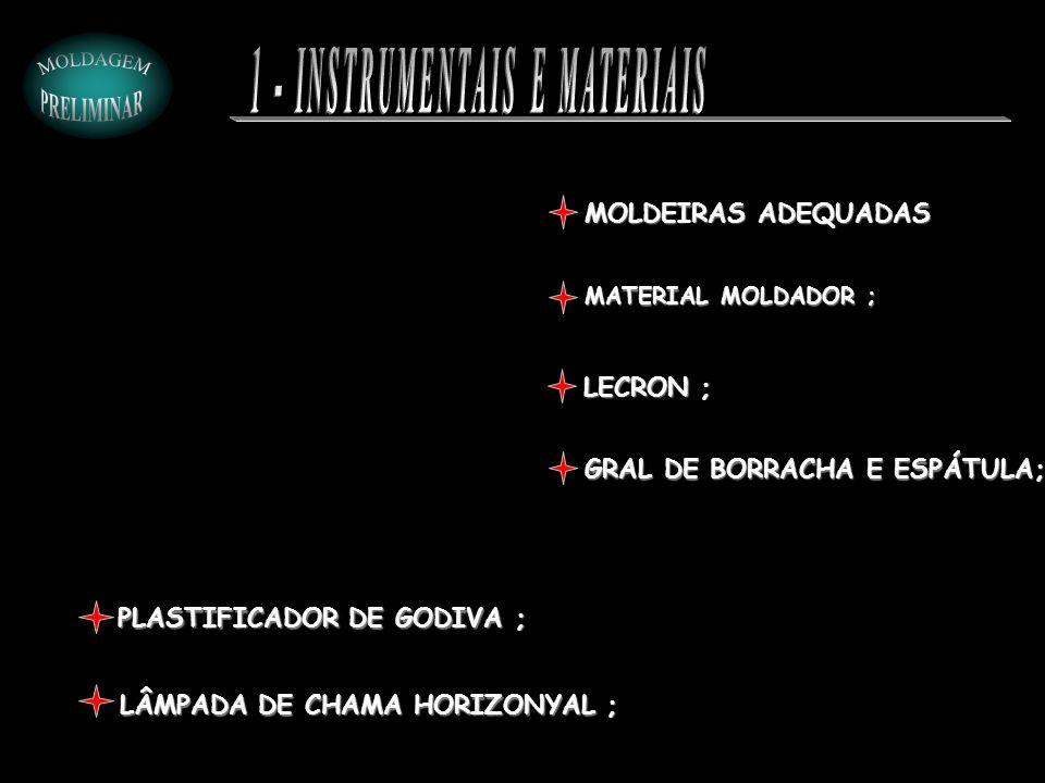 MOLDEIRAS ADEQUADAS MATERIAL MOLDADOR ; PLASTIFICADOR DE GODIVA ; LECRON ; GRAL DE BORRACHA E ESPÁTULA; LÂMPADA DE CHAMA HORIZONYAL ;