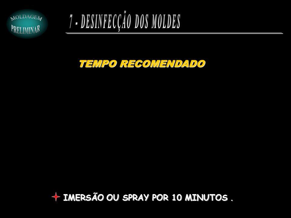 TEMPO RECOMENDADO IMERSÃO OU SPRAY POR 10 MINUTOS.