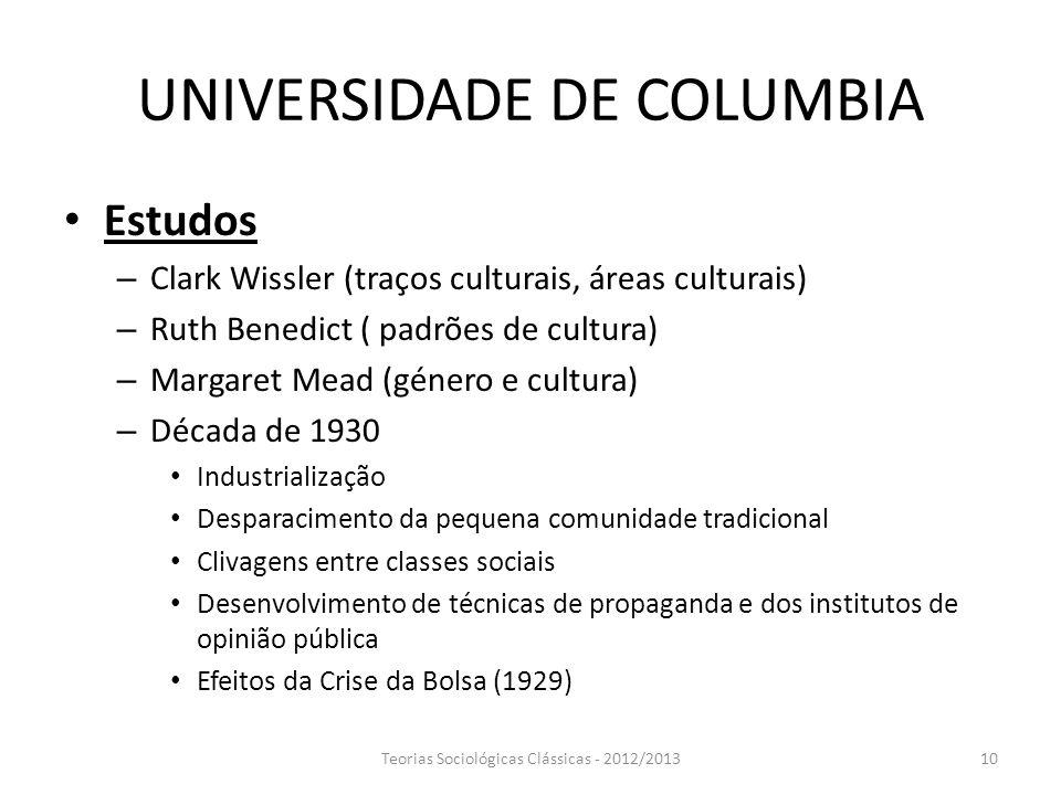 UNIVERSIDADE DE COLUMBIA Estudos – Clark Wissler (traços culturais, áreas culturais) – Ruth Benedict ( padrões de cultura) – Margaret Mead (género e c