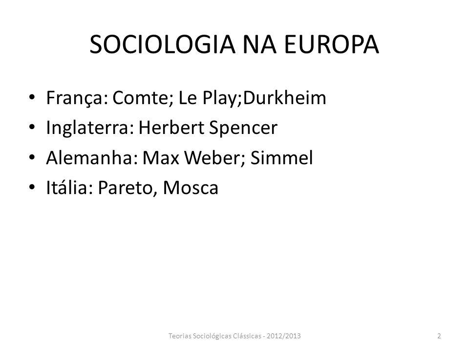 SOCIOLOGIA NA EUROPA França: Comte; Le Play;Durkheim Inglaterra: Herbert Spencer Alemanha: Max Weber; Simmel Itália: Pareto, Mosca Teorias Sociológica
