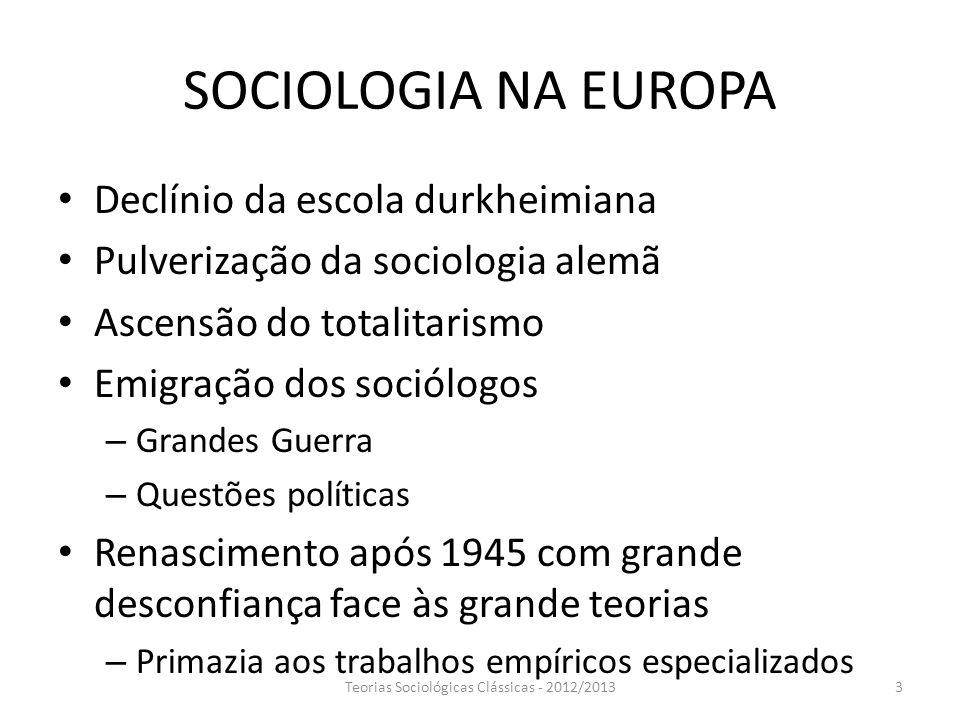 SOCIOLOGIA NA EUROPA Declínio da escola durkheimiana Pulverização da sociologia alemã Ascensão do totalitarismo Emigração dos sociólogos – Grandes Gue