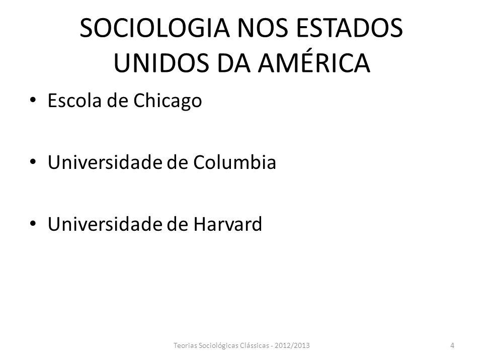 SOCIOLOGIA NOS ESTADOS UNIDOS DA AMÉRICA Escola de Chicago Universidade de Columbia Universidade de Harvard Teorias Sociológicas Clássicas - 2012/2013