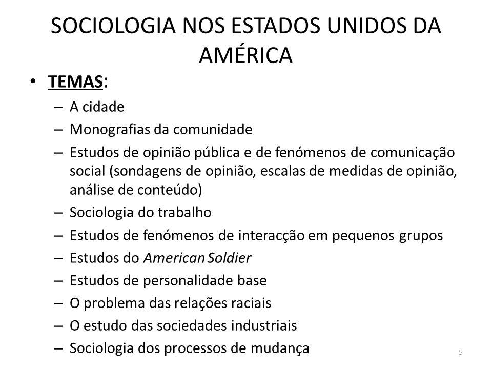 SOCIOLOGIA NOS ESTADOS UNIDOS DA AMÉRICA TEMAS : – A cidade – Monografias da comunidade – Estudos de opinião pública e de fenómenos de comunicação soc