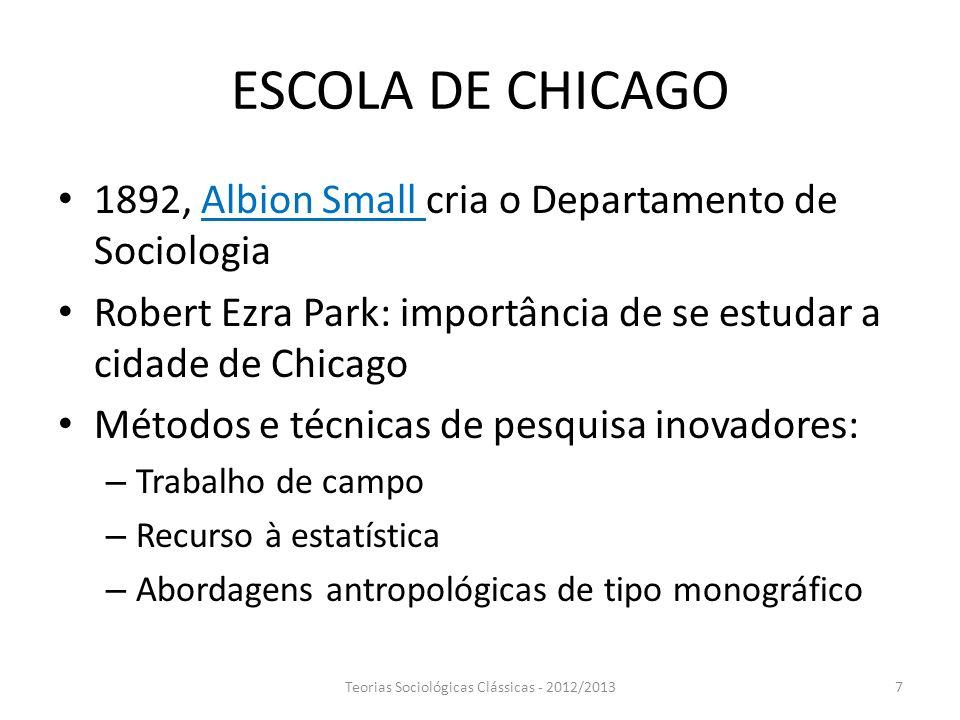 ESCOLA DE CHICAGO 1892, Albion Small cria o Departamento de Sociologia Robert Ezra Park: importância de se estudar a cidade de Chicago Métodos e técni