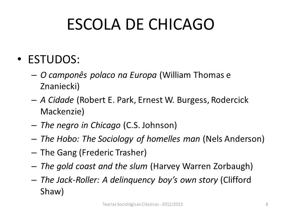 ESCOLA DE CHICAGO ESTUDOS: – O camponês polaco na Europa (William Thomas e Znaniecki) – A Cidade (Robert E. Park, Ernest W. Burgess, Rodercick Mackenz