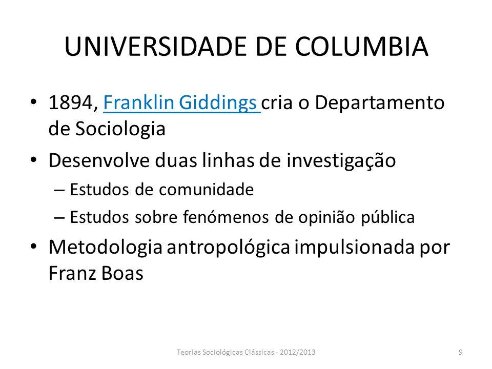 UNIVERSIDADE DE COLUMBIA 1894, Franklin Giddings cria o Departamento de Sociologia Desenvolve duas linhas de investigação – Estudos de comunidade – Es