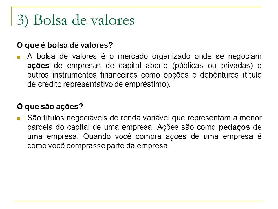 3) Bolsa de valores O que é bolsa de valores? A bolsa de valores é o mercado organizado onde se negociam ações de empresas de capital aberto (públicas