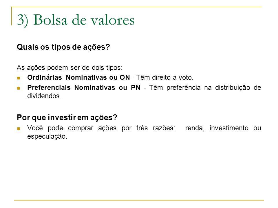 3) Bolsa de valores Quais os tipos de ações? As ações podem ser de dois tipos: Ordinárias Nominativas ou ON - Têm direito a voto. Preferenciais Nomina