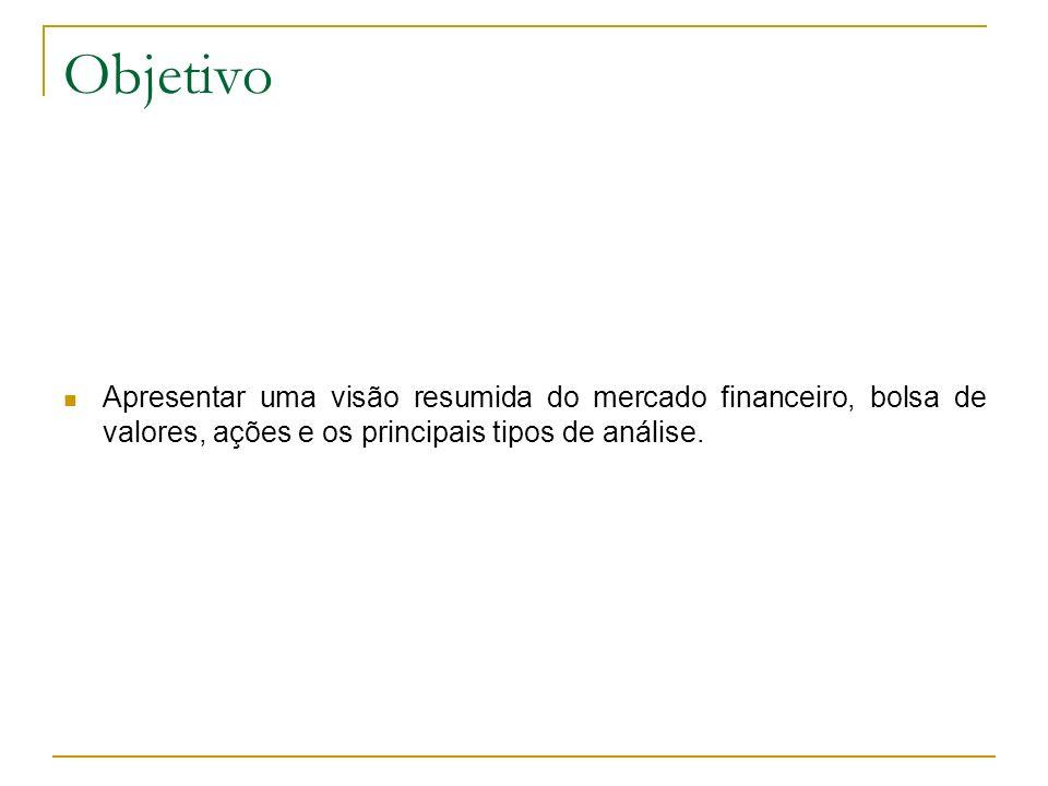 Objetivo Apresentar uma visão resumida do mercado financeiro, bolsa de valores, ações e os principais tipos de análise.