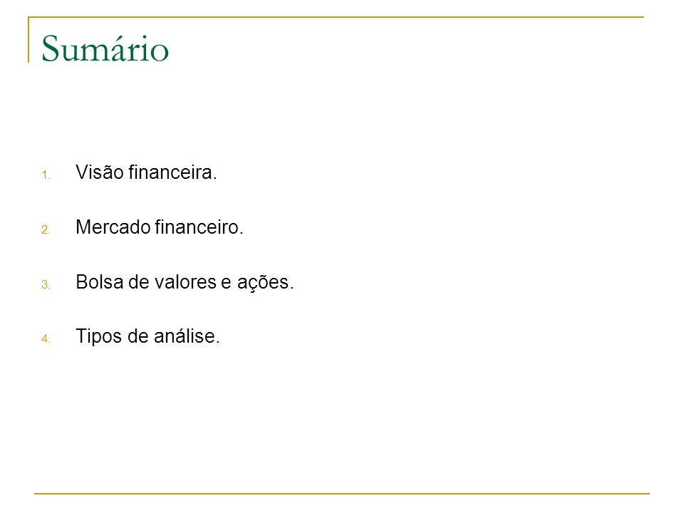 Sumário 1. Visão financeira. 2. Mercado financeiro. 3. Bolsa de valores e ações. 4. Tipos de análise.