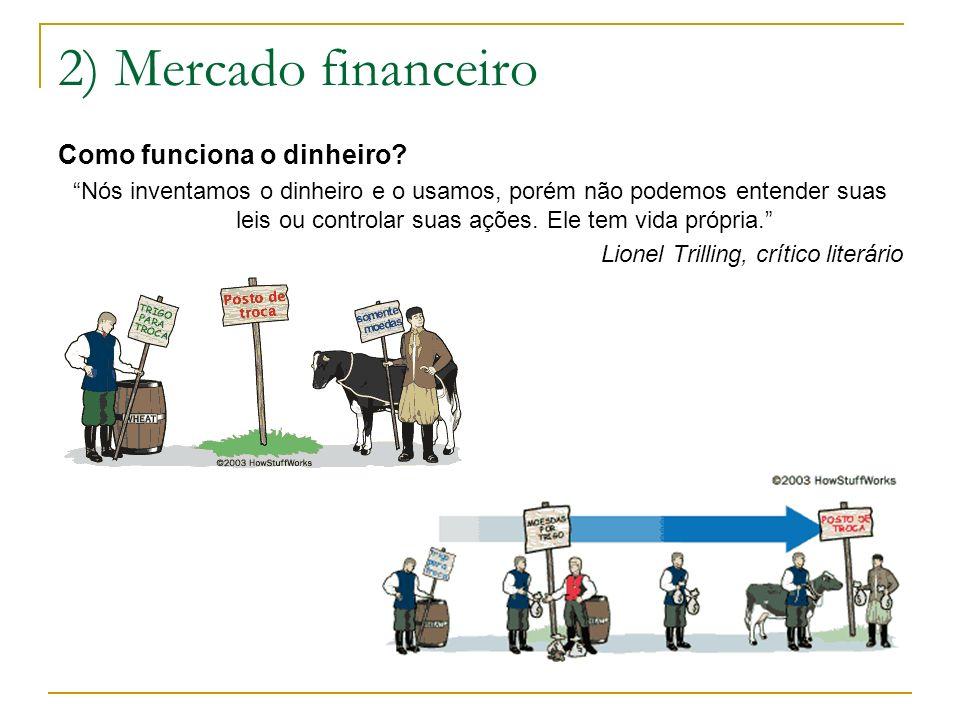 2) Mercado financeiro Como funciona o dinheiro? Nós inventamos o dinheiro e o usamos, porém não podemos entender suas leis ou controlar suas ações. El