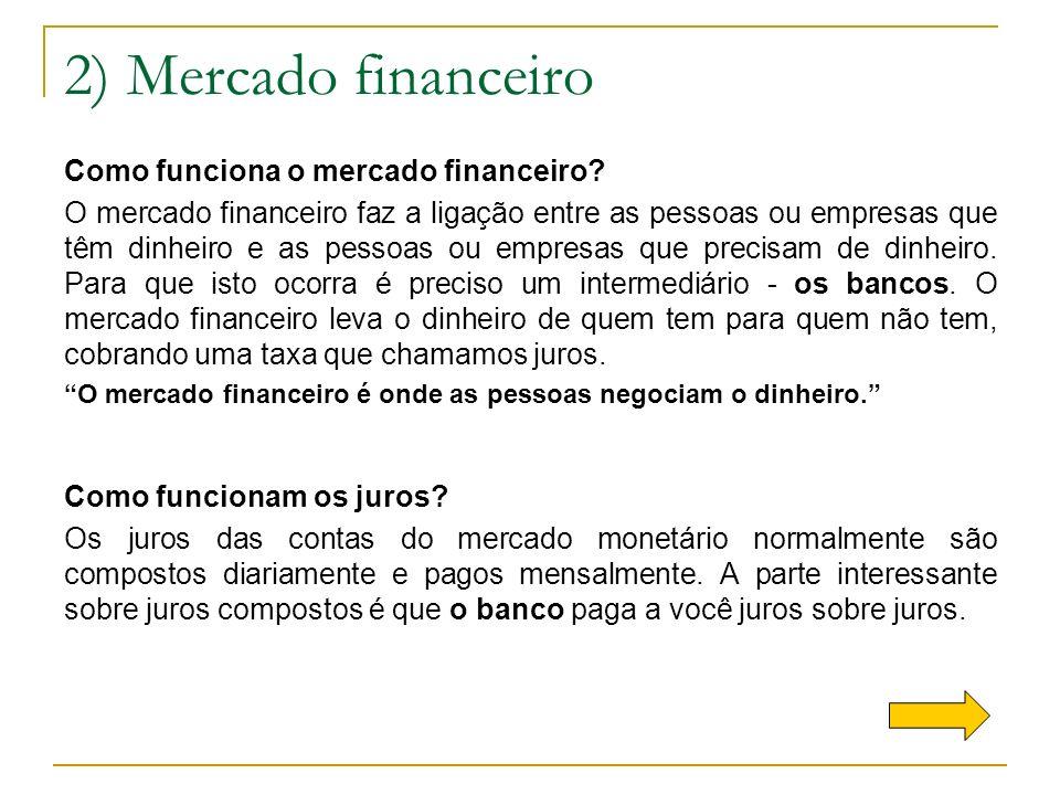 2) Mercado financeiro Como funciona o mercado financeiro? O mercado financeiro faz a ligação entre as pessoas ou empresas que têm dinheiro e as pessoa