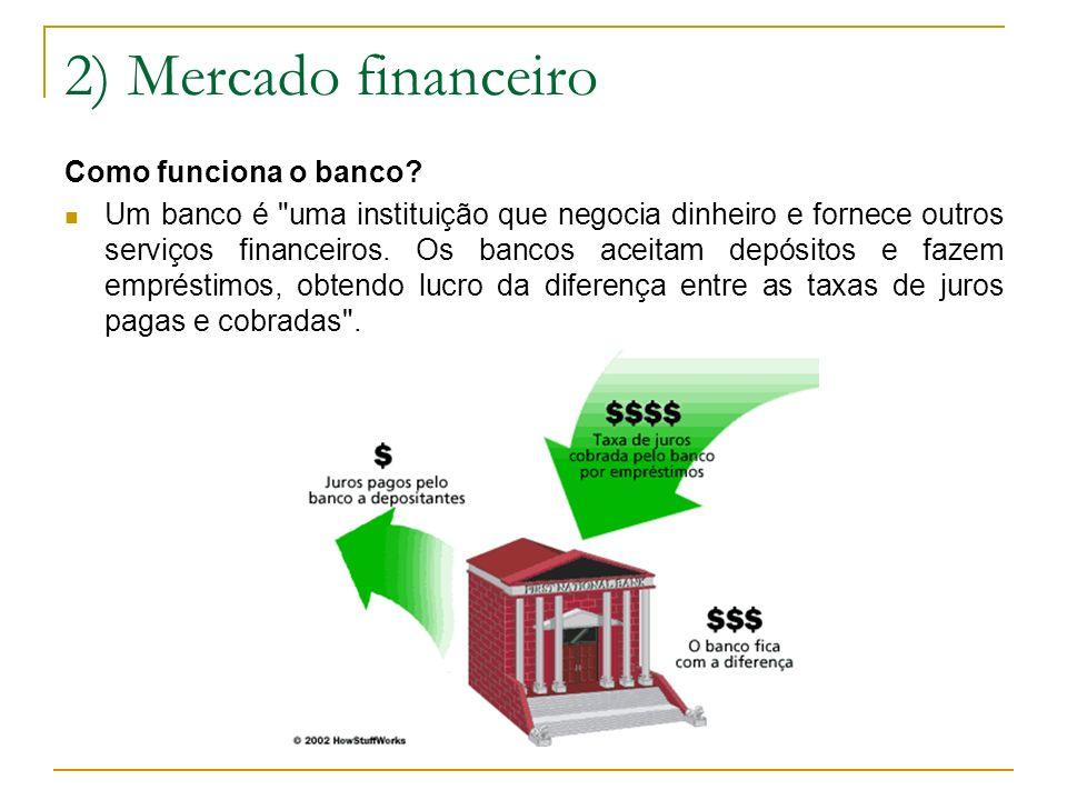 2) Mercado financeiro Como funciona o banco? Um banco é