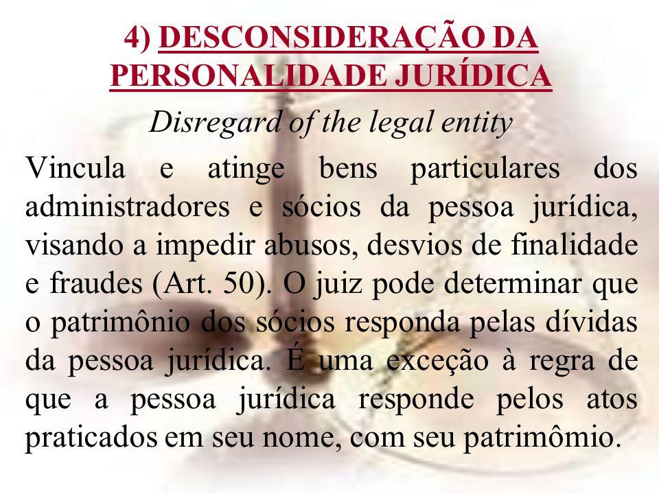 4) DESCONSIDERAÇÃO DA PERSONALIDADE JURÍDICA Disregard of the legal entity Vincula e atinge bens particulares dos administradores e sócios da pessoa j