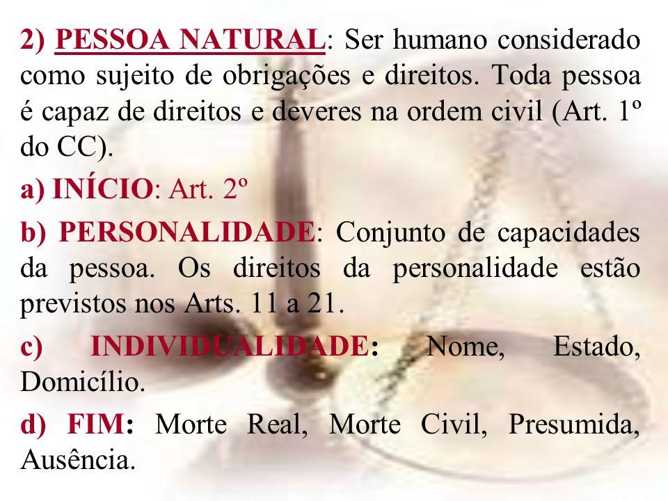 2) PESSOA NATURAL: Ser humano considerado como sujeito de obrigações e direitos. Toda pessoa é capaz de direitos e deveres na ordem civil (Art. 1º do
