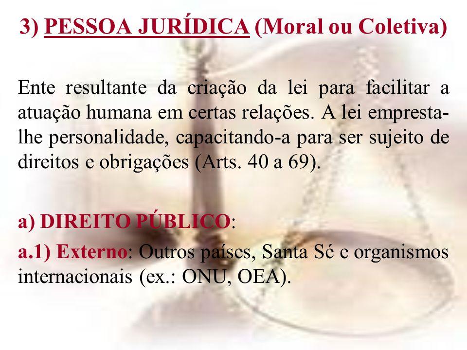 3) PESSOA JURÍDICA (Moral ou Coletiva) Ente resultante da criação da lei para facilitar a atuação humana em certas relações. A lei empresta- lhe perso