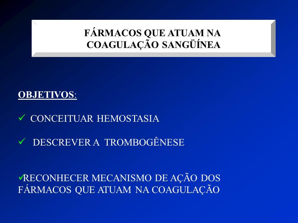 FÁRMACOS QUE ATUAM NA COAGULAÇÃO SANGÜÍNEA OBJETIVOS: CONCEITUAR HEMOSTASIA DESCREVER A TROMBOGÊNESE RECONHECER MECANISMO DE AÇÃO DOS FÁRMACOS QUE ATU