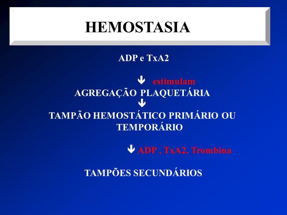 HEMOSTASIA ADP e TxA2 estimulam AGREGAÇÃO PLAQUETÁRIA TAMPÃO HEMOSTÁTICO PRIMÁRIO OU TEMPORÁRIO ADP, TxA2, Trombina TAMPÕES SECUNDÁRIOS