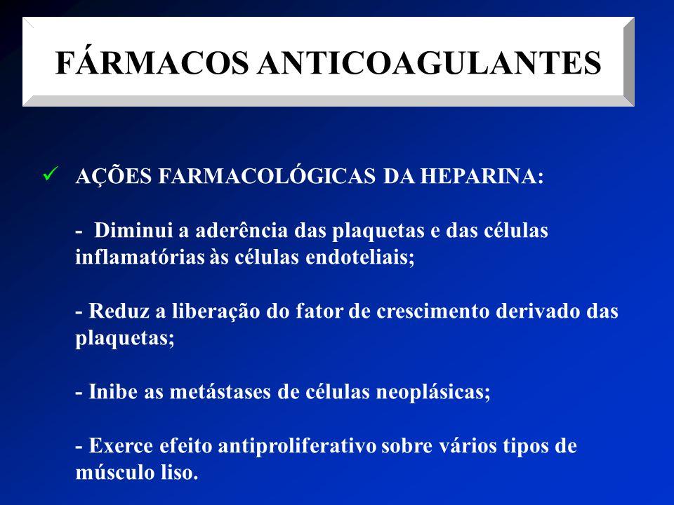 FÁRMACOS ANTICOAGULANTES AÇÕES FARMACOLÓGICAS DA HEPARINA: - Diminui a aderência das plaquetas e das células inflamatórias às células endoteliais; - R