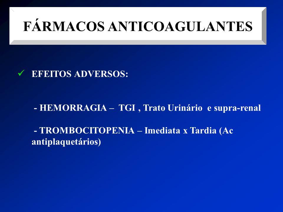 FÁRMACOS ANTICOAGULANTES EFEITOS ADVERSOS: - HEMORRAGIA – TGI, Trato Urinário e supra-renal - TROMBOCITOPENIA – Imediata x Tardia (Ac antiplaquetários