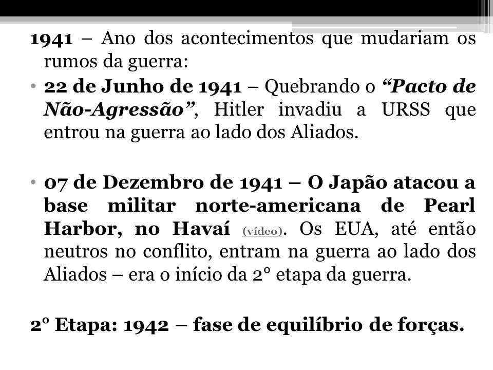 1941 – Ano dos acontecimentos que mudariam os rumos da guerra: 22 de Junho de 1941 – Quebrando o Pacto de Não-Agressão, Hitler invadiu a URSS que entr