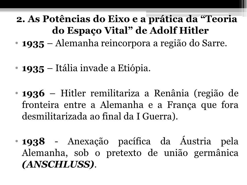 2. As Potências do Eixo e a prática da Teoria do Espaço Vital de Adolf Hitler 1935 – Alemanha reincorpora a região do Sarre. 1935 – Itália invade a Et