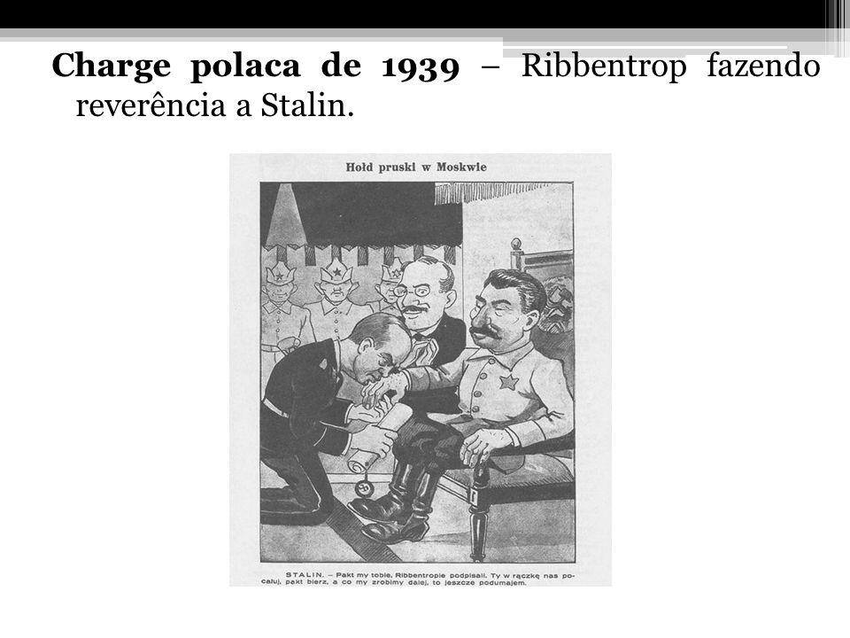 Charge polaca de 1939 – Ribbentrop fazendo reverência a Stalin.
