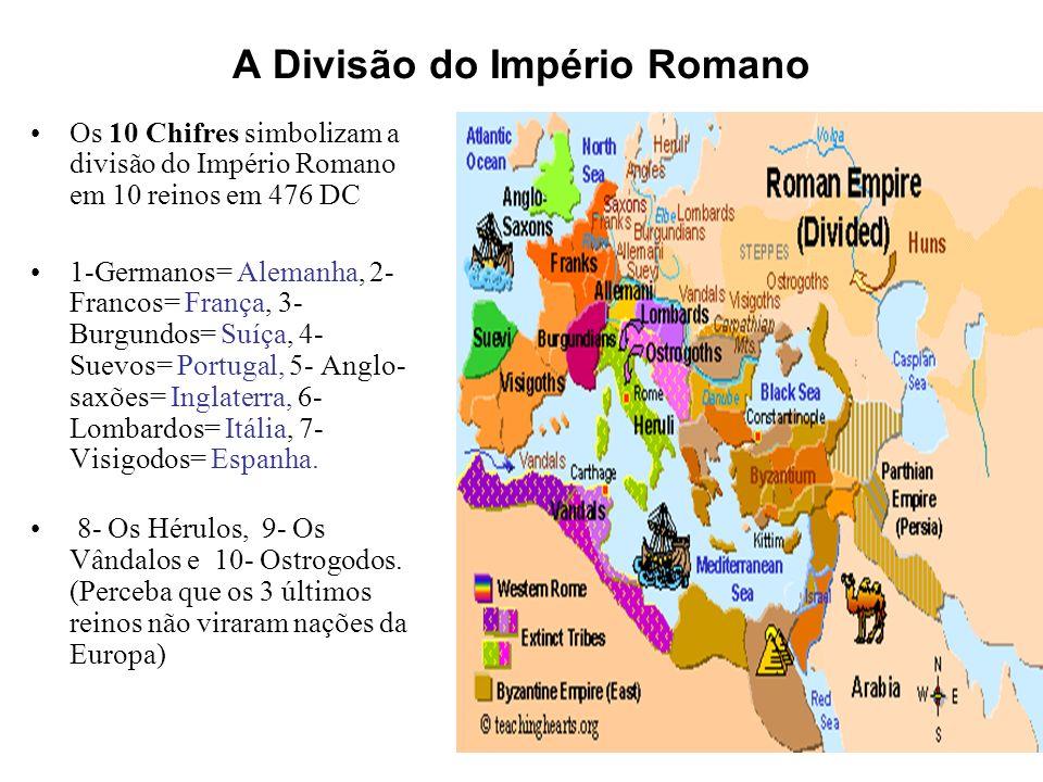 O Quarto Império Mas a profecia não acaba por aqui: o profeta vê surgir 10 chifres da cabeça do quarto animal.
