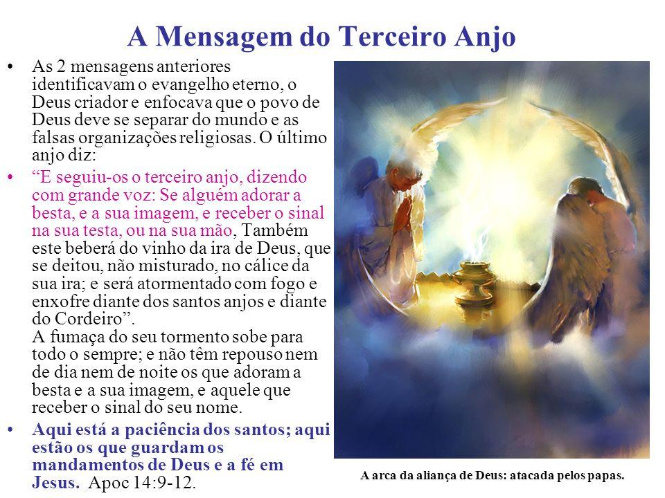 O segundo anjo simbolicamente é retratado com uma bíblia na mão com a seguinte pergunta: quantos grupos religiosos sobrevivem a prova da Palavra de Deus.
