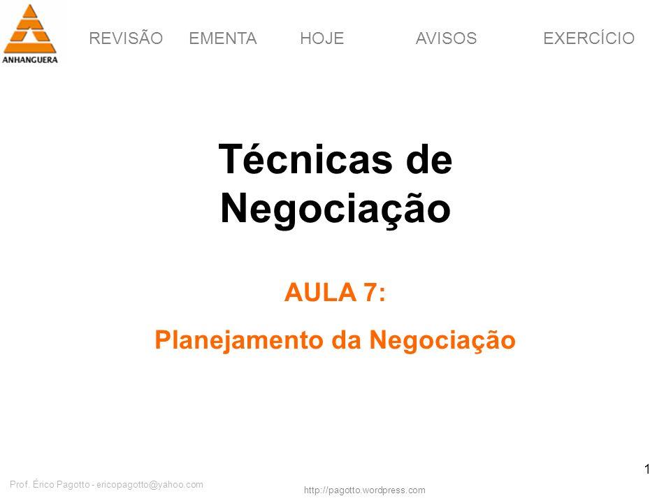 REVISÃOEMENTAHOJEEXERCÍCIOAVISOS http://pagotto.wordpress.com Prof. Érico Pagotto - ericopagotto@yahoo.com 1 Técnicas de Negociação AULA 7: Planejamen