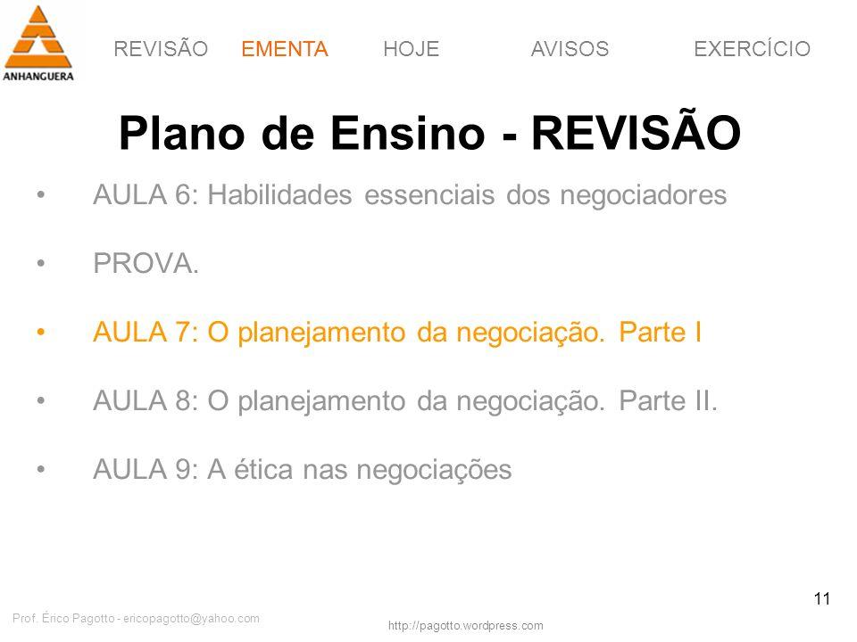 EMENTAHOJEEXERCÍCIOAVISOS http://pagotto.wordpress.com Prof. Érico Pagotto - ericopagotto@yahoo.com 11 Plano de Ensino - REVISÃO AULA 6: Habilidades e
