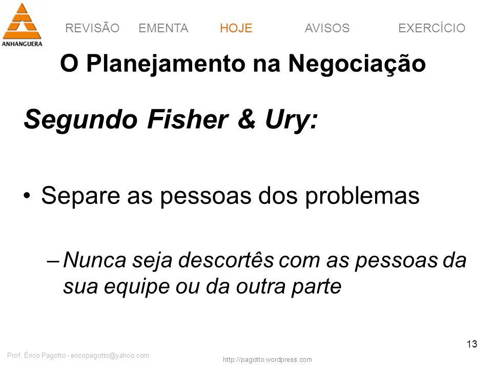 REVISÃOEMENTAHOJEEXERCÍCIOAVISOS http://pagotto.wordpress.com Prof. Érico Pagotto - ericopagotto@yahoo.com 13 O Planejamento na Negociação Segundo Fis