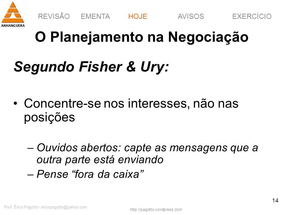 REVISÃOEMENTAHOJEEXERCÍCIOAVISOS http://pagotto.wordpress.com Prof. Érico Pagotto - ericopagotto@yahoo.com 14 O Planejamento na Negociação Segundo Fis