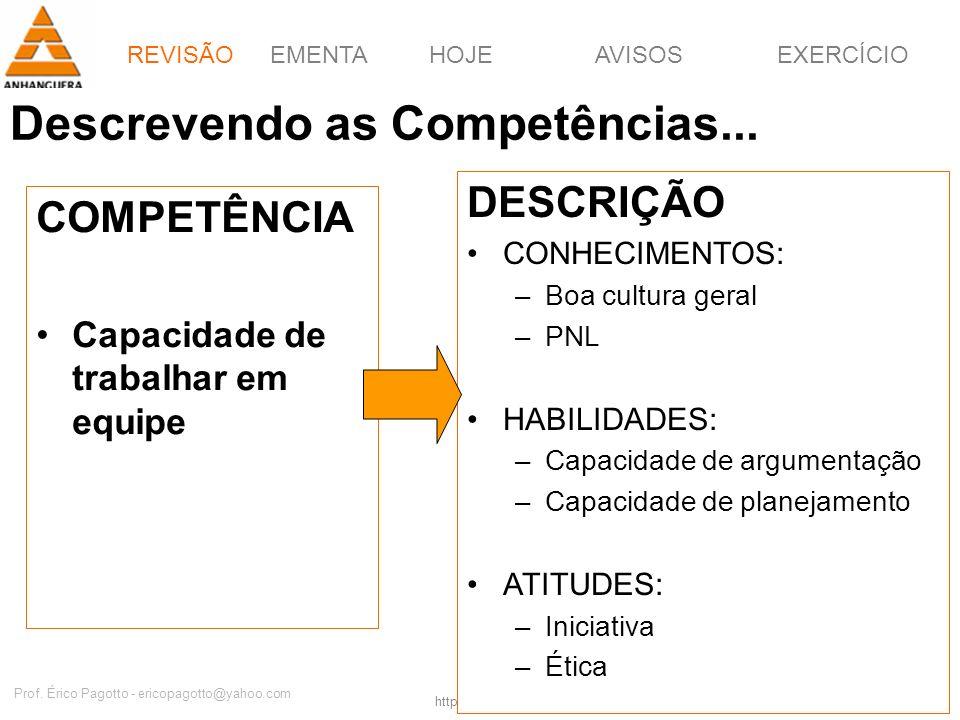 EMENTAHOJEEXERCÍCIOAVISOS http://pagotto.wordpress.com Prof. Érico Pagotto - ericopagotto@yahoo.com 6 Descrevendo as Competências... COMPETÊNCIA Capac