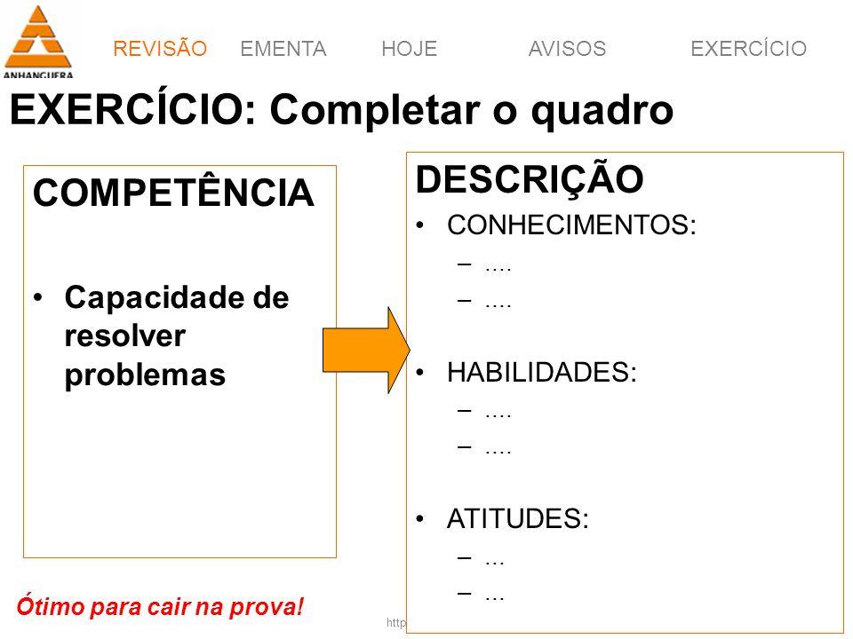 EMENTAHOJEEXERCÍCIOAVISOS http://pagotto.wordpress.com Prof. Érico Pagotto - ericopagotto@yahoo.com 7 EXERCÍCIO: Completar o quadro COMPETÊNCIA Capaci