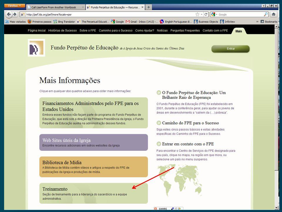 Treinamento Online do FPE Visita PFE site Visita PFE site http://pef.lds.org/pef http://pef.lds.org/pef http://pef.lds.org/pef Clique na aba Mais Cliq