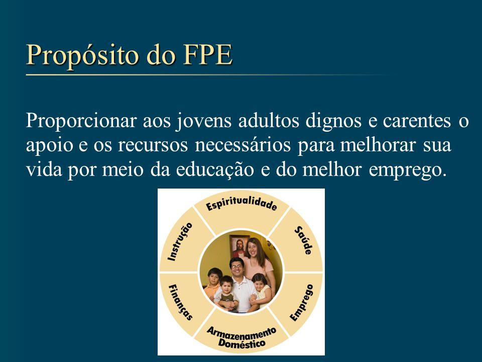 Propósito do FPE Proporcionar aos jovens adultos dignos e carentes o apoio e os recursos necessários para melhorar sua vida por meio da educação e do