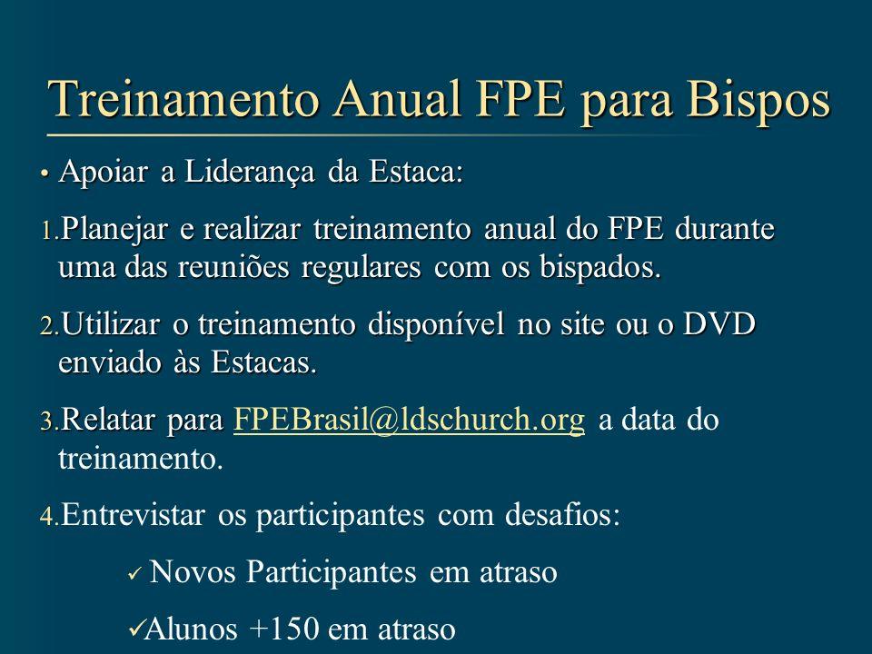 Treinamento Anual FPE para Bispos Apoiar a Liderança da Estaca: Apoiar a Liderança da Estaca: 1. Planejar e realizar treinamento anual do FPE durante